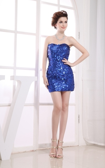 Chic Strapless Short Dress With Sequins and Zipper Back