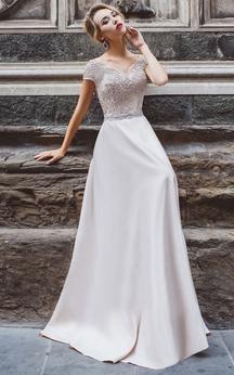 A-Line Floor-Length V-Neck Short Sleeve Jersey Appliques Pleats Low-V Back Dress