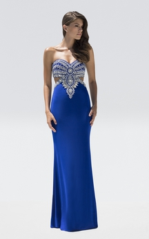 Sheath Floor-Length Sweetheart Sleeveless Jersey Beading Backless Dress