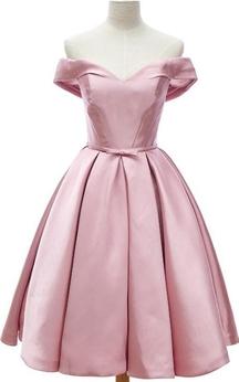 Elegant Off The Shoulder Knee Length Satin Dress