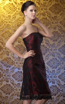 Strapless Short Dress With Applique and Bowed Jacket