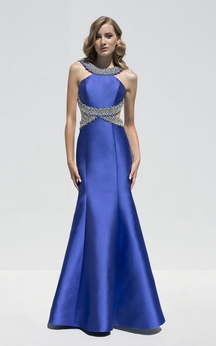 Mermaid Floor-Length Scoop-Neck Sleeveless Satin Beading Backless Dress