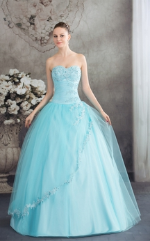 Sleeveless A-Line Tulle Corset Back and Ball-Gown With Beading
