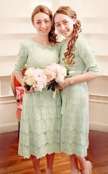 A-line Tea-length Half Sleeve Zipper Lace Dress