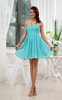 Lovely Sweetheart Ruched Chiffon Short Dress With Pleats