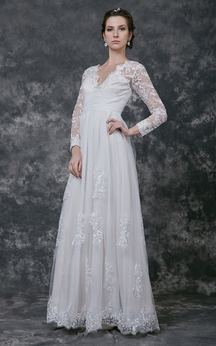 Radiant Long Sleeve V-neck A-line Long Lace Dress With Appliques