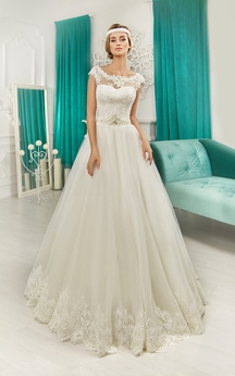 A-line Floor-length Cap Sleeve Bateau Keyhole Back Dress With Bow&Crystal Detailing
