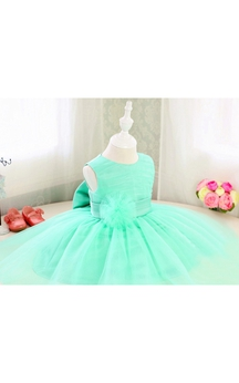 High Neck Sleeveless Empire A-line Tulle Tea Length Dress With Flower Bow