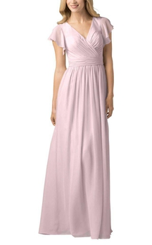 Butterfly Sleeves V-neck Chiffon Long Bridesmaid Dress