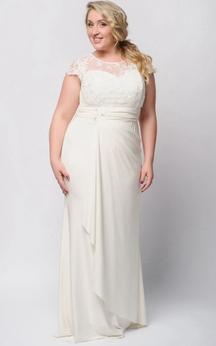 Sheath Floor-Length Jewel Short Sleeve Empire Jersey Drapping Zipper Dress
