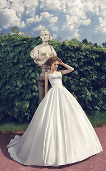 A-Line Floor-Length Sweetheart Sleeveless Corset-Back Satin Dress With Beading