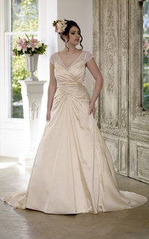 A-Line Floor-Length V-Neck Cap Satin Court Train Lace-Up Back Lace Dress