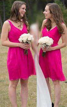 A-line Short V-neck Sleeveless Zipper Chiffon Dress