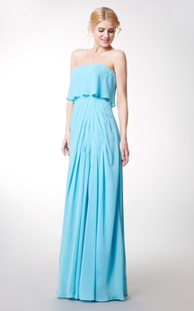 Enchanting Strapless Long Chiffon Dress With Front Side Slit