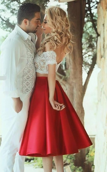 Sexy Lace Tea-length Two Piece Prom Dress 2016 Off-the-shoulder A-line