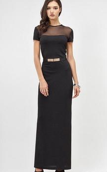 Jewel Neck Short Sleeve Sheath Jersey Ankle Length Dress With Beading Belt