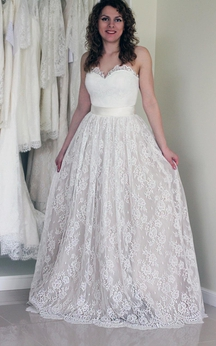 Sweetheart Strapless A-Line Floor Length Dress With Satin Sash
