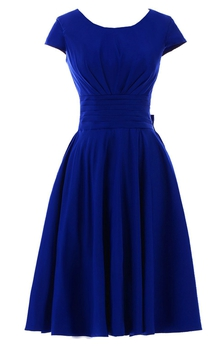 Short Sleeve Knee-length Pleated Chiffon Dress With Bowknot