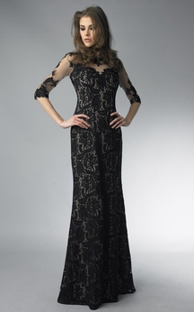 Sheath Floor-length High Neck Long Sleeve Lace Zipper Dress