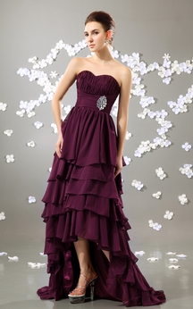 High-Low Sweetheart Dress With Tiers and Broach