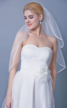 Satin Trim Two Tier Mid Veil Style