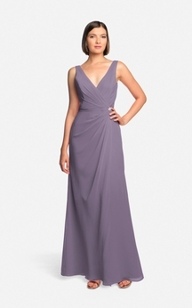 Long-Chiffon Elegant Dress With Low-V Back