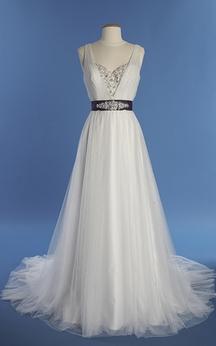 Empire Sleeveless V-Neck A-Line Dress With Bow Sash