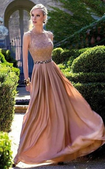 Sleeveless Long Chiffon Dress with Lace Bodice