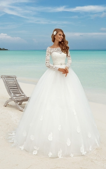 A-Line Long Bateau-Neck Illusion-Sleeve Illusion Tulle Dress With Bow And Sash