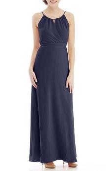 Spagetti Straps Ankle-length Chiffon Dress