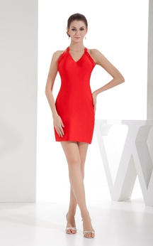 V-Neck Fitted Short Sleeveless Dress With Halter