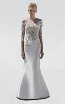 Mermaid Floor-Length Scoop-Neck Half Sleeve Satin Crystal Detailing Illusion Dress