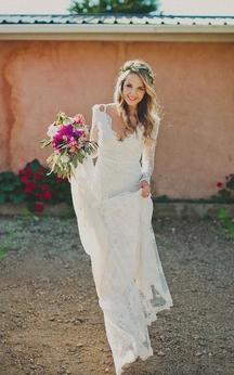 Sheath Short V-Neck Long Sleeve Bell Illusion Pleats Illusion Brush Train Backless Illusion Lace Dress