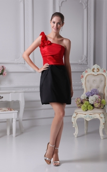 Two-Tone Satin Short One-Shoulder Dress With Ruching