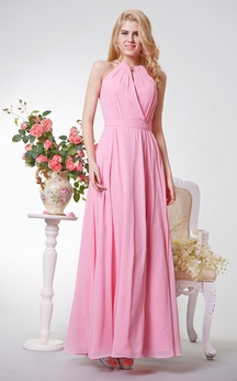 Special Halter A-line Long Chiffon Dress