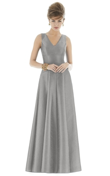 Simple Floor-length V-Neck Satin Gown with Pleats and V-Back