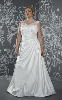 A-Line Floor-Length V-Neck Sleeveless Satin Sweep Train Low-V Back Side Draping Dress
