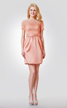 Bateau Neckline Short Lace and Satin Dress With V-back