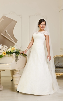 A-Line Floor-Length Jewel-Neck Cap-Sleeve Lace-Up Lace Dress