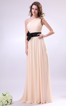 Chiffon One-Shoulder Maxi Dress With Pleating and Flower