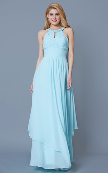 Sleeveless Jewel Neck Ruffled Long Chiffon Dress