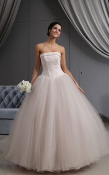 Blushing Pink A-Line Ball Gown With Embroideried Bodice and Tulle Overlay
