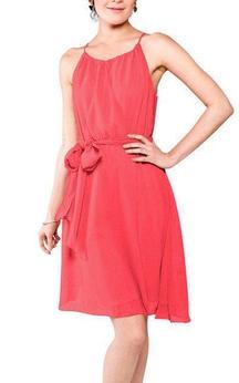 Spagetti Straps Short Chiffon Dress with Sash