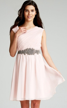 Chiffon Chic Asymmetric Neckline Dress With Sash