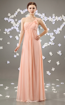 Chiffon Floor-Length One-Shoulder Dress With Flower