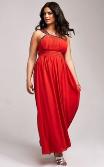 One-Shoulder Plus Gown With Beading Neckline