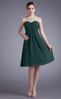 Sweetheart Chiffon Dress With Pleating and Ruching