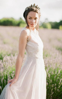Sleeveless A-Line Jewel Neck Tulle Dress With Illusion Back and Beadings