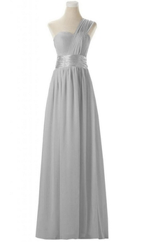 One-shoulder Emprie Chiffon Gown With Ruched Strap