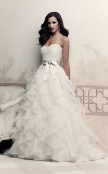 A-Line Dress With Cascading Ruffles And Bow Sash